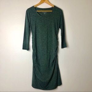 Green Heather Fitted Ruched Maternity Dress